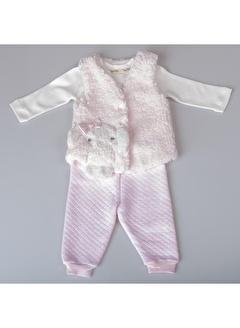 POKY Yeni Sezon Kız Bebek 6-24 Ay Sevimli Tavşan Figürlü Çıtçıt Yelek 3'Lü Takım-397